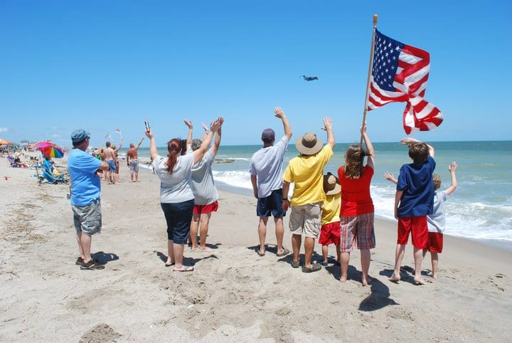 Beachgoers at Salute from the Shore