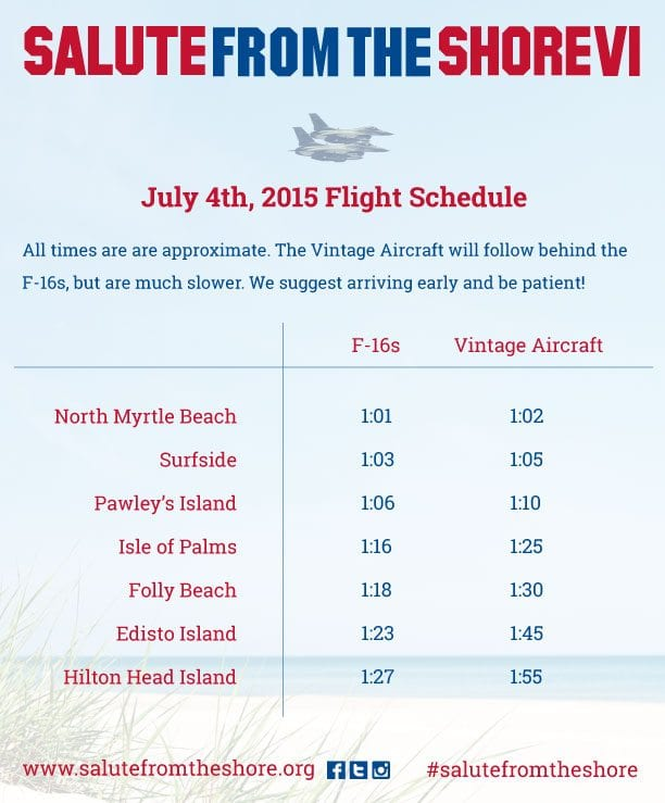 2015 Flight Schedule for Salute from the Shore