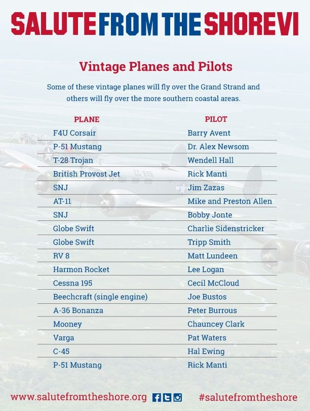 2015 Salute from the Shore Planes and Pilots