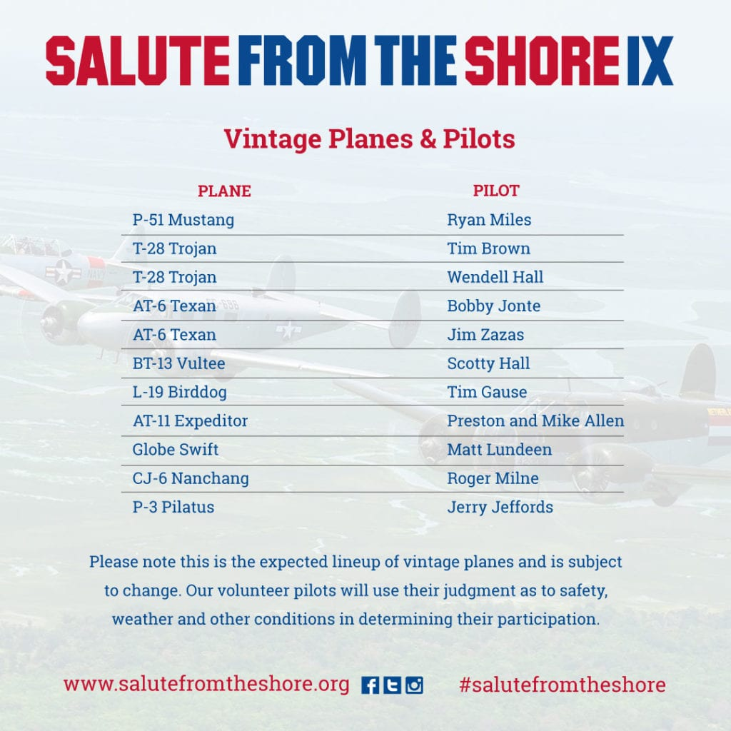 2018 Salute from the Shore Planes and Pilots